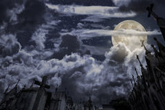 Old cemetery in a full moon night Royalty Free Stock Photos