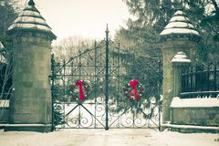 Free Old Cemetery Gate In Winter Royalty Free Stock Images - 132355559