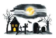 Old Cemetery Landscape. Horror night. Halloween Party Illustration. Watercolor drawing Stock Images