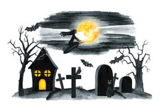 Old Cemetery Landscape. Horror night. Halloween Party Illustration. Watercolor drawing Royalty Free Stock Photography