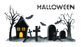 Old Cemetery Landscape. Horror night. Halloween Party Illustration. Watercolor drawing Stock Image