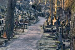 Graveyard with tombstones. Old cemetery with many tombstones Royalty Free Stock Photography