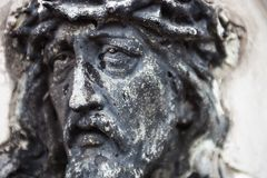 Old cemetery marble sculpture of Jesus Christ Royalty Free Stock Photography