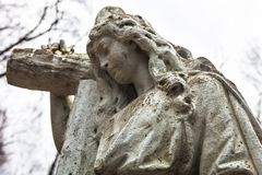 Old cemetery marble sculpture of the woman Royalty Free Stock Image