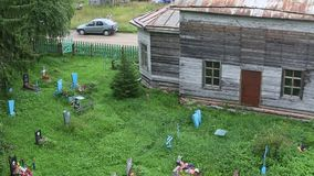 The old cemetery near the Church of St. Nicholas built in 1696. stock footage