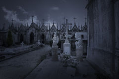 Old cemetery at night Royalty Free Stock Image