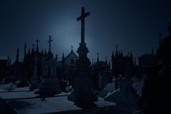 Old cemetery at night Stock Image