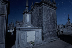 Old cemetery at night Royalty Free Stock Photos