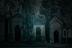 Old cemetery by night Stock Photography