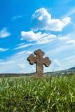 Old Cemetery rock cross. Western Ukraine Ternopil Terebovlja Mykulynci Royalty Free Stock Image
