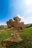 Old Cemetery rock cross. Western Ukraine Ternopil Terebovlja Mykulynci Royalty Free Stock Photography