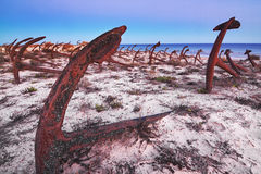 Old cemetery rusty anchors. Stock Images