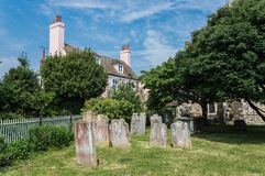 Old Cemetery in Rye in East Sussex. A beautiful cobbled street in the historic town of Rye in East Sussex. Rye is one of the most preserved middle aged village stock images