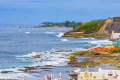 The old Cemetery at San Juan at Puerto Rico. And view of the ocean stock photo