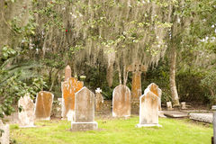 Old Cemetery and Spanish Moss Royalty Free Stock Photos