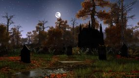 Old cemetery in spooky night forest. Abandoned cemetery with ancient gravestones and old chapel in a spooky autumn forest under night sky with full moon Stock Photos