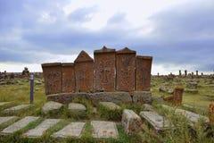 Old cemetery stone crosses in Armenia stock image