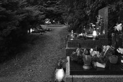 The old cemetery street with the lanterns. The old cemetery street - Sadská Czech republic. Late evening photo stock images