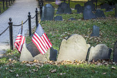 Old cemetery with US flags in Boston, USA Stock Image
