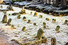 Old cemetery in winter. Overgrown with moss stone plate, dead leaves. Not to distinguish names Royalty Free Stock Photo