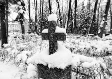 Old cemetery in wintertime Royalty Free Stock Photography
