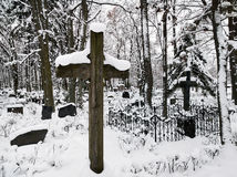 Old cemetery in wintertime Stock Images