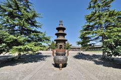 Old censer in Chinese temple yard Stock Images