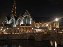 Old center of Amsterdam by night Stock Photo