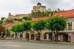 Old center and the castle, in Trencin royalty free stock images