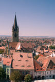 Old center Sibiu. Image showing part of the Small Square and the Huet Square from above. The Evanghelical Church and its tower are a landmark in Sibiu, Romania Stock Photography