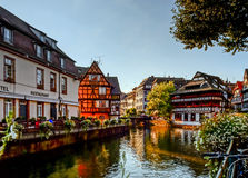 Old center of Strasbourg. Typical alsacien houses on the river. Royalty Free Stock Photography
