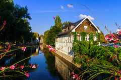 Old center of Strasbourg. Typical alsacien houses on the river. Stock Photo