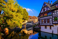 Old center of Strasbourg. Typical alsacien houses on the river. Royalty Free Stock Image