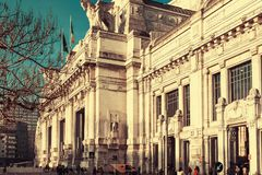 Old central railway station in Milan Royalty Free Stock Photography