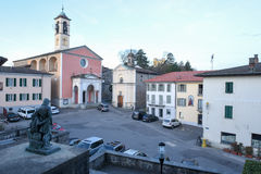 The old central square of Stabio on Switzerland. Stebio, Switzerland - 9 March 2017: the old central square of Stabio on the italian part of Switzerland stock photos