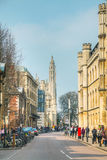 Old central street of Cambridge Royalty Free Stock Photos
