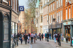 Old central street of Cambridge Royalty Free Stock Photo