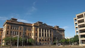 The old Central Technical school. Syracuse, New York, USA. July 4, 2018. View of the now dormant Central Technical High School in downtown Syracuse, New York stock video