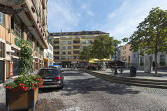 Old centre of Vevey, Switzerland stock images