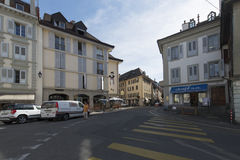 Old centre of Vevey, Switzerland royalty free stock photos
