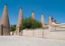 Old ceramic chimneys, Seville, Spain Royalty Free Stock Photos