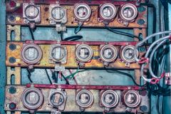 Old ceramic fuse panel. Close view stock images