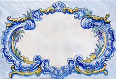 Old ceramic glazed tile frame Royalty Free Stock Image