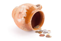 Old ceramic pot of money. Royalty Free Stock Photography