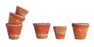 Old ceramic pots isolated Royalty Free Stock Photos