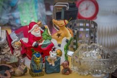 Old ceramic Santa Claus at flea market in Kiev, Ukraine royalty free stock photography