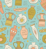 Old ceramic seamless pattern. Ethnic antique Greek style background. China. Endless texture with hand drawn tableware Royalty Free Stock Photography