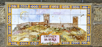 Old ceramic tile picture of Linhare da Beira, Portugal Royalty Free Stock Photos