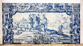The old ceramics azulejos in the Convento de Nossa Senhora da Graca church, Lisbon, Portugal royalty free stock photo