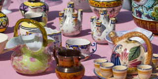 Old ceramics at flea market Royalty Free Stock Photos
